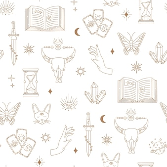 보헤미안 마법의 매끄러운 패턴, 요술은 달, 눈, 손, 태양, 금색 단순한 선, 보헤미안 신비로운 기호 및 흰색 배경의 요소를 대상으로 합니다. 낙서 스타일의 현대 유행 벡터 일러스트 레이 션