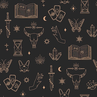 Boho magical seamless pattern, witchcraft objects moon, eye, hands,  sun, gold simple line, bohemian mystic symbols and elements on black background. modern trendy vector illustration in doodle style