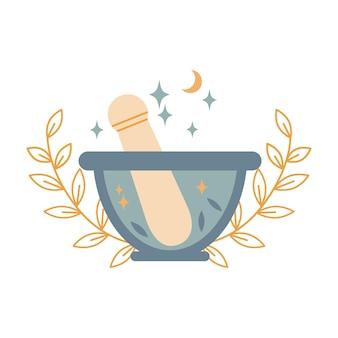 Boho 마법의 돌 모르타르 그릇과 유봉에는 잎, 달, 흰색 배경에 분리된 별이 있습니다. 벡터 평면 그림입니다. 대체 의학, 요리, 약국 로고 디자인