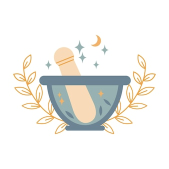 Boho magical stone mortar bowl and pestle with leaves, moon, stars isolated on white background. vector flat illustration. design for alternative medicine, cooking, pharmacy logo