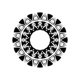 Boho mandala illustration in black and white, hippie round design. tribal geometric mandala vector design, polynesian hawaiian tattoo style pattern with waves, triangles and abstract shapes.