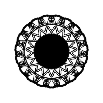 Boho mandala illustration in black and white, hippie round design. tribal geometric mandala vector design