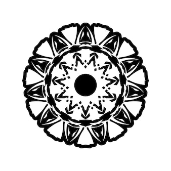 Иллюстрация мандалы бохо в черно-белом, хиппи круглый дизайн. племенной геометрический векторный дизайн мандалы