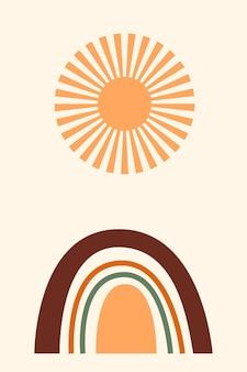 自由奔放に生きるミニマリストの虹のアーチと太陽のアイコン