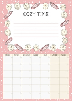 Boho monthly calendar with white candles and quartz crystals decorative elements, place for notes and to do list. cozy lagom planner. cute cartoon style hygge template for agenda, planners