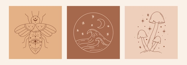 Boho 신비한 낙서 밀교 세트입니다. 벌, 버섯, 바다가 있는 마법의 라인 아트 포스터. 보헤미안 현대 벡터 일러스트 레이 션