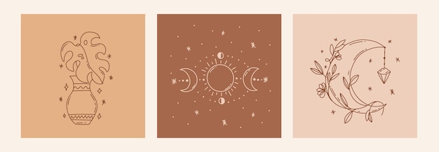 Бохо мистический каракули эзотерический набор magic line art постер с вазами из лунных листьев фазы луны богемная современная иллюстрация