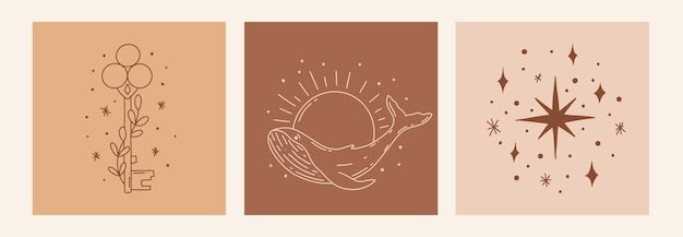 Бохо мистический каракули эзотерический набор. волшебный плакат искусства линии со звездами, дельфином, ключом. богемные современные векторные иллюстрации