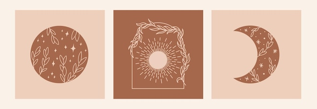 Boho 신비한 낙서 밀교 세트입니다. 태양, 잎, 달, 별이 있는 매직 라인 아트 포스터. 보헤미안 현대 벡터 일러스트 레이 션