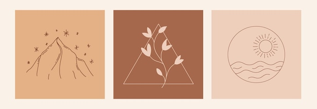 Boho 신비한 낙서 밀교 세트입니다. 태양, 바다, 산, 잎, 별이 있는 마법의 라인 아트 포스터.