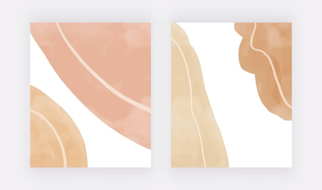 Boho nude and brown hand painting watercolor wall art prints with lines modern design backgrounds