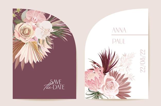自由奔放に生きる蘭、パンパスグラス、プロテアカードテンプレート。モダンなミニマルアールデコの結婚式のベクトルの招待状を設定します。熱帯の花、ヤシの葉のポスター、花のフレーム。日付を保存するトレンディなデザイン、豪華なパンフレット