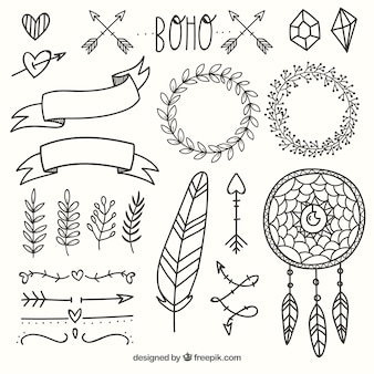 Boho ornaments set