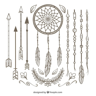 Boho пакет с различными декоративных элементов