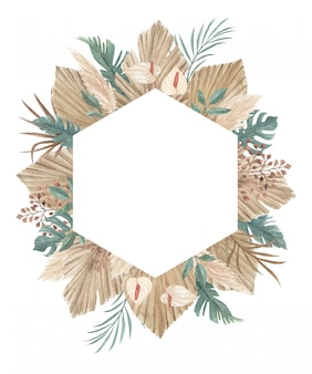 Boho pampas grass frame with palm spear, calla lily, orchid, and tropical jungle leaves perfect for greeting card, invitation, and any other design