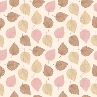 Boho pattern in delicate shades of beige pink brown cute leaves pattern