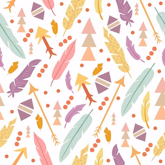 Boho pattern geometric shapes and feathers