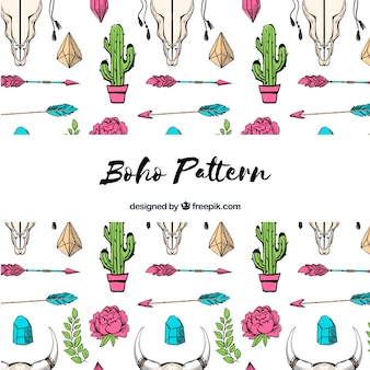 Boho pattern in hand drawn style