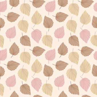 Узор в стиле бохо в нежных оттенках бежевого, розово-коричневого, узор cute leaves