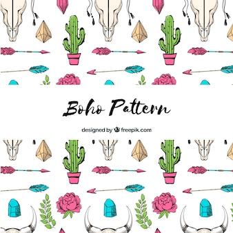 手描きのスタイルでBohoパターン