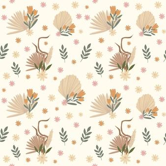 Узор в стиле бохо в пастельных бежевых розовых и коричневых тонах на бежевом фоне.