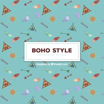 Boho pattern in watercolor style