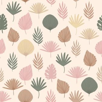 Boho pattern in pastel beige pink brown color on beige  background cute leaves pattern