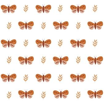 Boho pattern in pastel beige pink brown color on dark background leaves pattern rustic Premium Vector