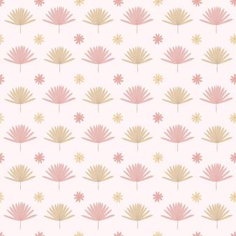 Boho pattern in pastel beige pink brown color on pink background leaves pattern