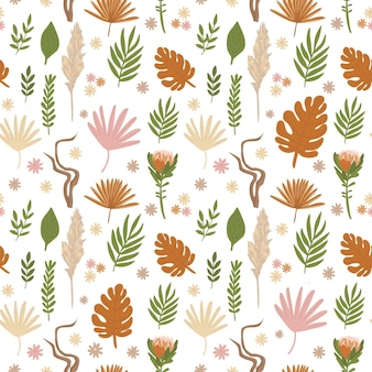 Boho pattern in pastel beige pink brown color on white background leaves pattern rustic