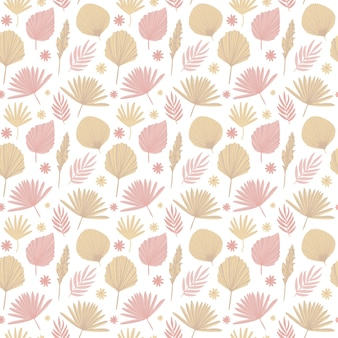 Boho pattern in pastel beige pink brown color on white background leaves pattern