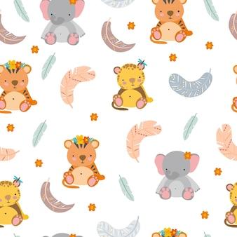동물과 깃털을 가진 boho 패턴