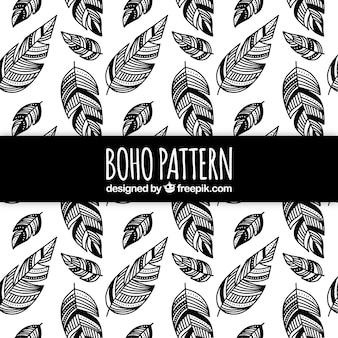Boho pattern con piume nere
