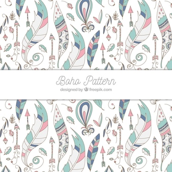 Boho pattern with colorful feathers