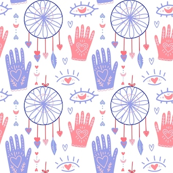 Boho pattern with cute hands and moon, dream catcher. doodle modern style