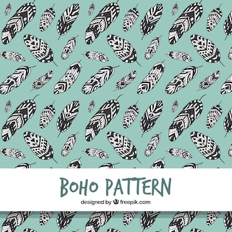 Boho pattern with feathers