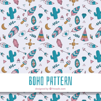 Boho pattern with hippie elements