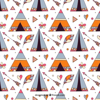 Boho pattern with tent