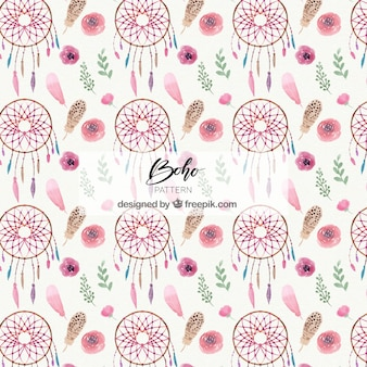 Boho pattern with watercolor dreamcatchers