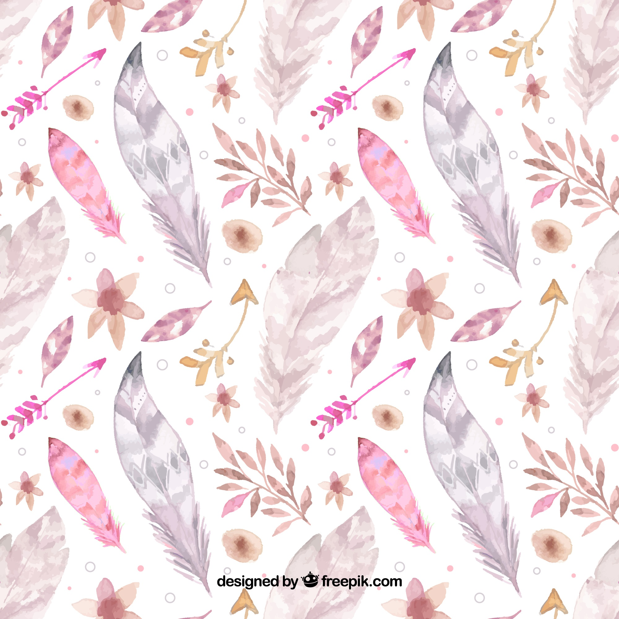 Boho pattern with watercolor feathers