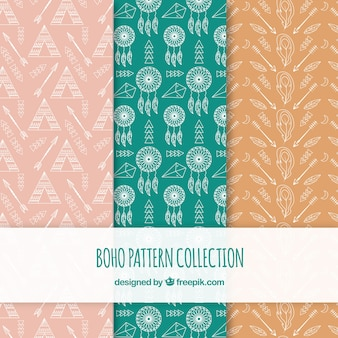 Boho patterns collection in hippie style