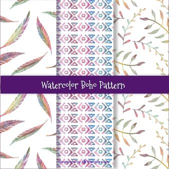 Boho patterns collection in watercolor style