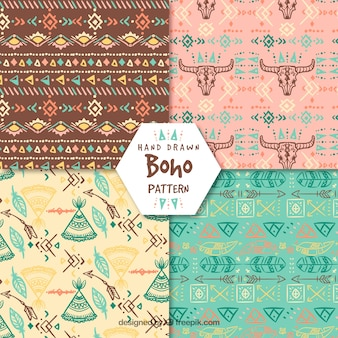 Boho patterns collection with hippie style