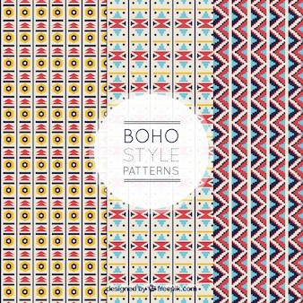 Boho patterns with flat geometric shapes
