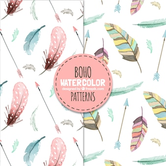 Boho patterns with watercolor feathers