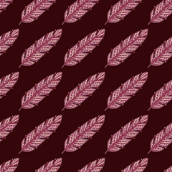 Boho pink feather seamless doodle pattern for decorative design