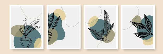 Набор плакатов бохо. ботанический набор векторных искусства стены. бохо листва линии искусства рисунок с абстрактной формой. абстрактный дизайн растений для печати, обложки, обоев