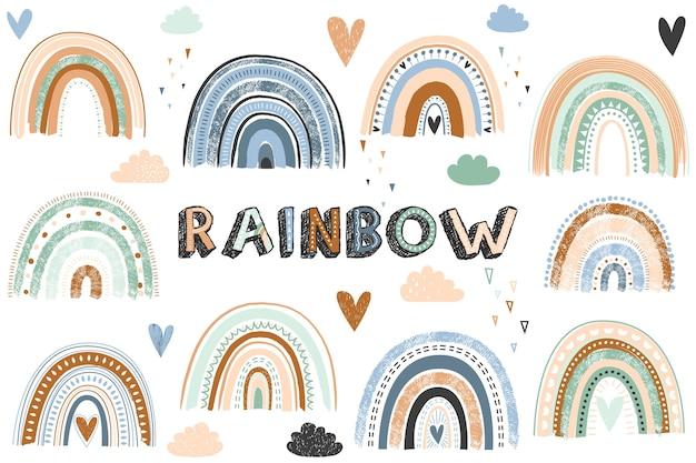 Boho rainbow collection illustration