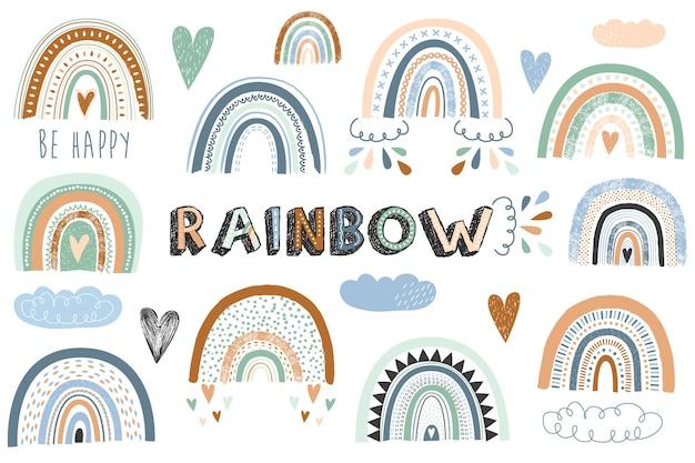 Иллюстрация коллекции радуги бохо