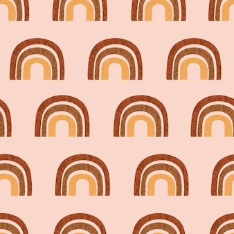 Boho rainbow seamless pattern. cute kids background vector